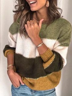 Plus Size Long Sleeve Casual Stripes Sweater Thick Sweaters, Casual Sweaters, Pullover Sweaters, Sweaters For Women, Striped Sweaters, Women's Sweaters, Oversized Sweaters, Casual Shirts, Pullover Pullover