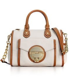 MICHAEL Michael Kors Handbag, Margo Medium Shoulder Satchel, In White/Tan - Macy's