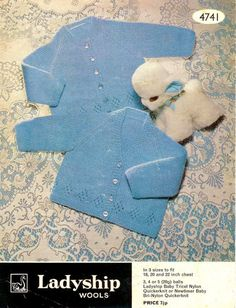 Baby Matinee Jackets 2 lovely styles  Shawl in QK for 18 - 22 ins - Ladyship 4741 - pdf of Vintage Knitting Patterns