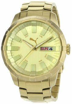 PUMA Men's PU102431003 Crown Metal Gold Watch PUMA. $140.00. Water Resistant up to 165 feet (5 ATM/BAR). 3 Hand Day & Date Display. Quartz movement. 2 year International Warranty. Stainless steel case backing with PUMA icons and stamps of authenticity