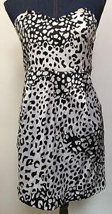 Silent Noise Junior Ladies Dress Size 1 Strapless White Black Animal Print | eBay