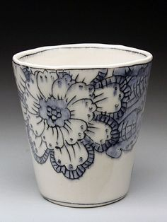 Molly Hatch. Floral Pattern. Porcelain Juice Cups, at MudFire Gallery