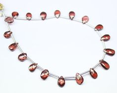 Natural Red Garnet Faceted Pear Drop Beads Strand, – Jewels Exports