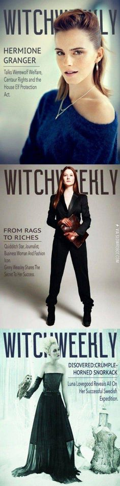 Hermione, Ginny and Luna all grown-up and on the cover of Witch Weekly.