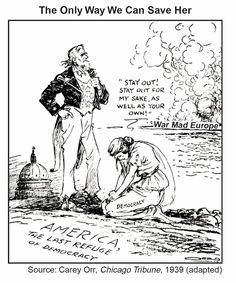 Print of The Only Way We Can Save Her [Democracy]. American cartoon, by Carey Orr against U. intervention in European wars Political Satire, Political Cartoons, American Cartoons, History Class, Cartoon Shows, Save Her, The Only Way, World War Ii, Social Studies