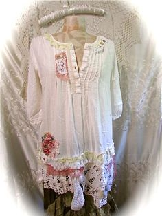 Shabby Ivory Tunic shabby upcycled top by TatteredDelicates