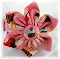 Dog Collar w Fabric Bow Cupcake Birthday by DoggieCustomCouture, $27.95