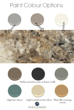 How to create a paint colour palette with countertops, tile or more using Formica Antique Mascarello accents and wall colours by Kylie M Interiors
