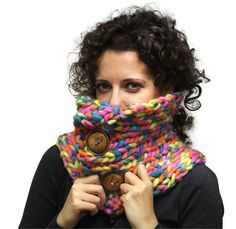 Chunky Winter Scarf Bulky Multicolor Pure Wool Neck by Solandia, $67.00