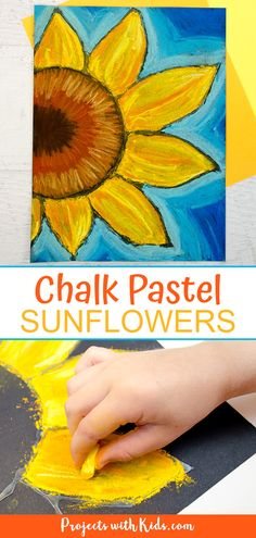 These chalk pastel sunflowers are so colorful and beautiful! Kids will learn easy chalk pastel techniques to create this fun sunflower art project! Projects Beautiful Chalk Pastel Sunflowers - Art Project for Kids Chalk Pastel Art, Chalk Pastels, Chalk Art, Oil Pastels, Summer Art Projects, Cool Art Projects, Projects For Kids, Children Art Projects, Kids Art Lessons
