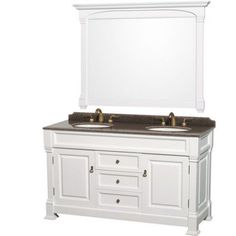 wyndham collection andover 60 inch double bathroom vanity in white imperial brown granite countertop