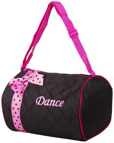 Girl's Quilted Nylon Dance Duffle Bag w/ Pink Polka Dot Bow (Black) *** Click image to review more details.