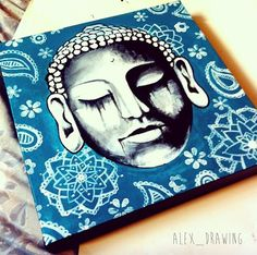 Buddha Painting Acrylic on canvas mandala paisley turquoise by Alexandra Frances. Instagram @alex_drawing