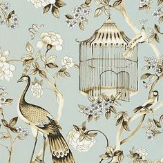 5004080 Schumacher Wallpaper pattern name Oiseaux et Fleurs. Mahones Wallpaper Shop only sells quality no second hand materials with full manufacturer guarantee. Peacock Wallpaper, Chinoiserie Wallpaper, Botanical Wallpaper, Wood Wallpaper, Chinoiserie Chic, Wallpaper Roll, Pattern Wallpaper, Bathroom Wallpaper, Canvas Art