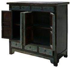 Inside Chinese Handmade Slate Grey Blue Lacquer Solid Wood Side Table Cabinet