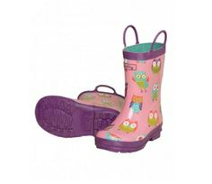 Hatley Party Owls Wellies at Wellies and Worms Pink wellies with purple contrast trim and pull on handles. Little Girl Rain Boots, Girls Rain Boots, Kids Boots, Girls Shoes, British Clothing Brands, Owl Clothes, Owl Kids, Wellies Boots, Wellington Boot
