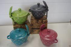 Soup Bowl Lid & Spoon Polka Dot Green, Grey, Blue or Pink