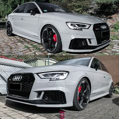 Product Highlight: Audi dropped on Spring Kit. Tag a friend who would like this! Audi A3 Sedan, Audi Rs3, Rims For Cars, Car Goals, Mercedes Amg, Race Cars, Dream Cars, Vehicles, Sports