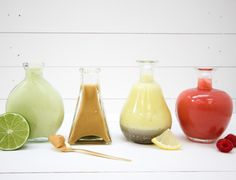 I truly think that having a delicious salad dressing is what can make or break your salad! No one likes to eat bland and boring food, and what you dress your salad with can make all the difference. Remember healthy does NOT have to equal boring ;) The best thing about some of these healthy salad dressings is that they can be used as dipping sauces as well! Creamy Avocado Dressing Makes 1 cup Ingredients: 1 large ripe avocado, peeled and pitted100g low-fat plain yoghurt1-2 garlic cloves…