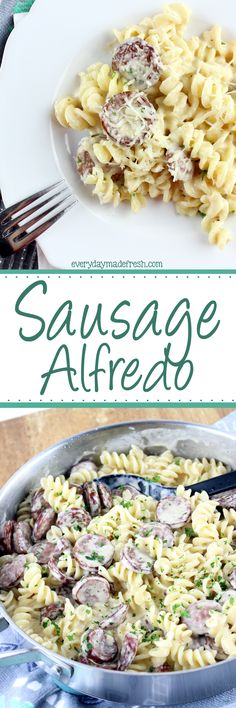Creamy alfredo sauce, cajun seasoning, and smoked sausage make this Sausage Alfredo a dinner with 5 ingredients, and ready in less than 20 minutes. | EverydayMadeFresh.com http://www.everydaymadefresh.com/sausage-alfredo/
