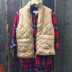Make bundling up effortless with this adorable plaid shirt and vest    Plaid shirt $41   Vest $52   #plaid #newarrivals #fallfavorites #shoplocal #musthaves #417 #juneandbeyond #shopjuneandbeyond