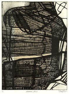Kim Van Someren: Stacked House, 2010, etching/aquatint, chine colle, 12 x 9 inches
