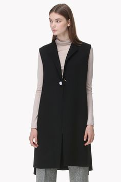 Marble stone pin long vest