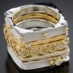 Stack of 5 rings Sterling silver, 18k gold, diamond Sterling silver, 18k gold, diamonds
