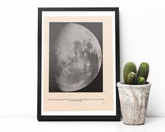 1939 The Moon, an original vintage print from 1939, illustrations present our Moon and its craters.