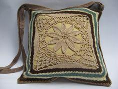 Cross body bag linen and crochet Shoulder by ColouredAccessories