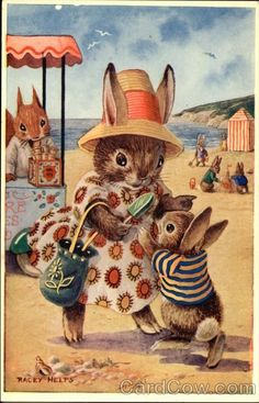 cute kitsch vintage rabbit art for easter cards and tags At the Seaside by Racey Helps - Bunny Rabbits - Children's Book Illustrations Susan Wheeler, Art And Illustration, Book Illustrations, Richard Scarry, Bunny Art, Bunny Pics, Rabbit Art, Whimsical Art, Vintage Children