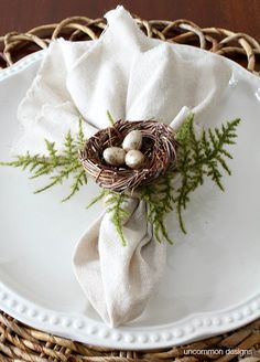 How to make Bird's Nest Napkin Rings for your spring and Easter tablescape via Uncommon Designs.