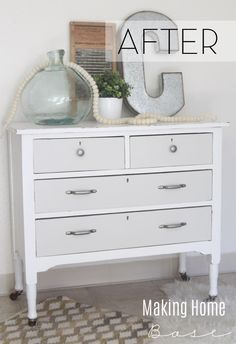 Painted Furniture Ideas - try a two toned color scheme like this gray and white beauty