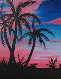 45 Ideas Palm Tree Painting Acrylic Sunsets - paint and art Tree Canvas, Canvas Art, Canvas Ideas, Diy Canvas, Painting Canvas Crafts, Tree Painting Easy, Wine And Canvas, Nature Paintings, Palm Tree Paintings
