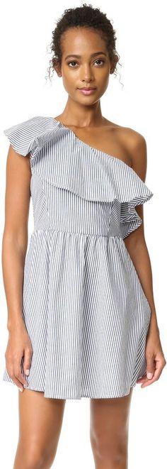 J.O.A. Stripe One Shoulder Dress