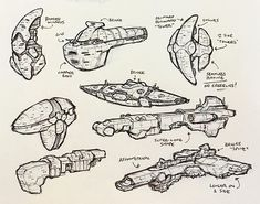 Spaceships concept art by Sean Wang. Space Ship Concept Art, Concept Ships, Starship Concept, Sci Fi Spaceships, Space Battles, Sci Fi Ships, Spaceship Design, Star Trek Ships, Aircraft Design