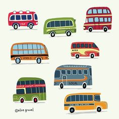 Today I felt like drawing BUSES! Which one will you take, and to where? #illustrationoftheday #bus #vintage #illustration