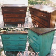 Refinished with CeCe Caldwell's chalk paint  Destin gulf green, clear wax and dark wax