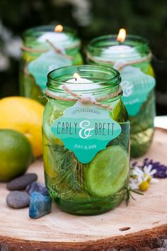 Mason jar floating candles in citronella oil with herbs are perfect for backyard parties, gatherings and outdoor weddings.