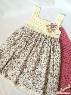 Vestidos para Bebés y Nenas con Canesú en Crochet y Tela | Otakulandia.es