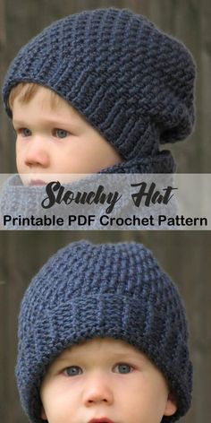 Make some Crochet Slouchy Hat Patterns. There are lots of different crochet hat patterns for women, kids, and men. Slouch Beanie Crochet Pattern, Beanie Knitting Patterns Free, Crochet Baby Hat Patterns, Crochet Baby Beanie, Knitted Baby Beanies, Beanie Pattern Free, Knitting Tutorials, Loom Knitting, Free Knitting