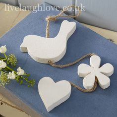 Bird, Flower & Heart Hanging Wooden Decorative Garland | Live Laugh Love
