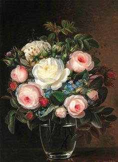 Johan Laurentz Jensen (1800-1856): Pink and white roses together with forget-me-nots in a glass vase.