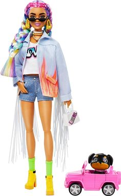 Mattel Barbie, Barbie Mode, Barbie And Ken, Barbie Dolls, Ropa American Girl, Rainbow Braids, Barbie Fashionista Dolls, Barbie Doll Accessories, Cooler Look