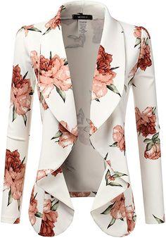 Doublju Classic Draped Open Front Blazer for Women with Plus Size Ivory Small Blazer Jackets For Women, Blazers For Women, Biker Jackets, Women's Blazers, Plus Size Blazer, Blazer Fashion, Jacket Pattern, Fashion Sewing, Work Attire