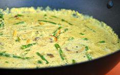 Vegalekkere curry met groene asperges