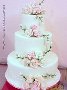"Wedding Cakes Casamentos - Sweet Carolina ""The Art of Cake"" Wedding Cake Fresh Flowers, Pretty Wedding Cakes, Amazing Wedding Cakes, Fall Wedding Cakes, Elegant Wedding Cakes, Elegant Cakes, Wedding Cake Designs, Pretty Cakes, Beautiful Cakes"