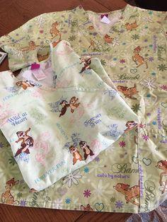 2 The Wonderful World of Disney Scrub Tops Chip & Dale &  Bambi Size L/G #Disney