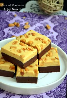 Homemade Chocolate with Caramel My Recipes, Cooking Recipes, Brownie Bar, Homemade Chocolate, Fudge, Food And Drink, Sweets, Breakfast, Desserts
