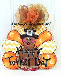 Fun Fall Turkey Door Hanger - Bronwyn Hanahan Art by BronwynHanahanArt on Etsy Halloween Door Hangers, Fall Door Hangers, Burlap Door Hangers, Thanksgiving Crafts, Fall Crafts, Holiday Crafts, Thanksgiving 2016, Thanksgiving Decorations, Burlap Crafts